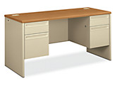 HON 3000Series Double Credenza Harvest Top Putty Front Side View H38852.C.L