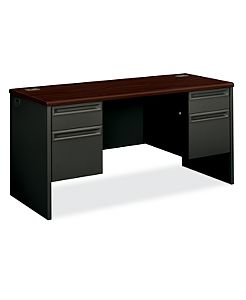 HON 3000Series Double Credenza Mahogany Top Charcoal Front Side View H38852.N.S