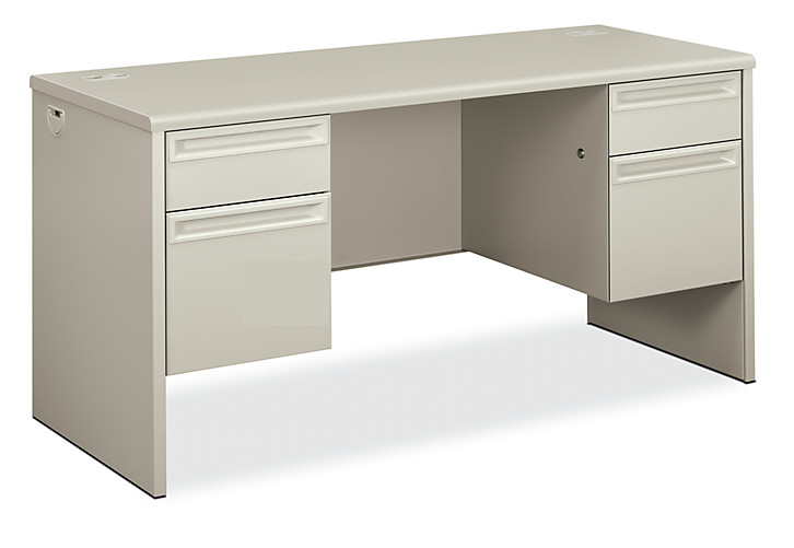 HON 3000Series Double Credenza Light Gray Front Side View H38852.Q.Q