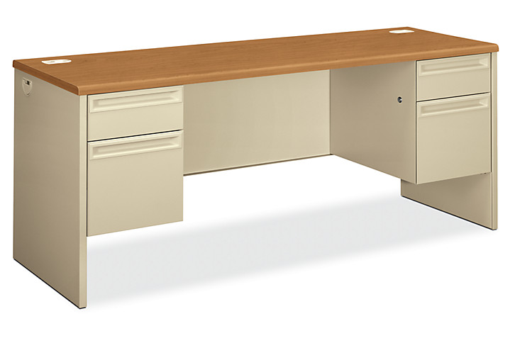 HON 38000Series Double Credenza Putty Harvest Top Front Side View H38854.C.L