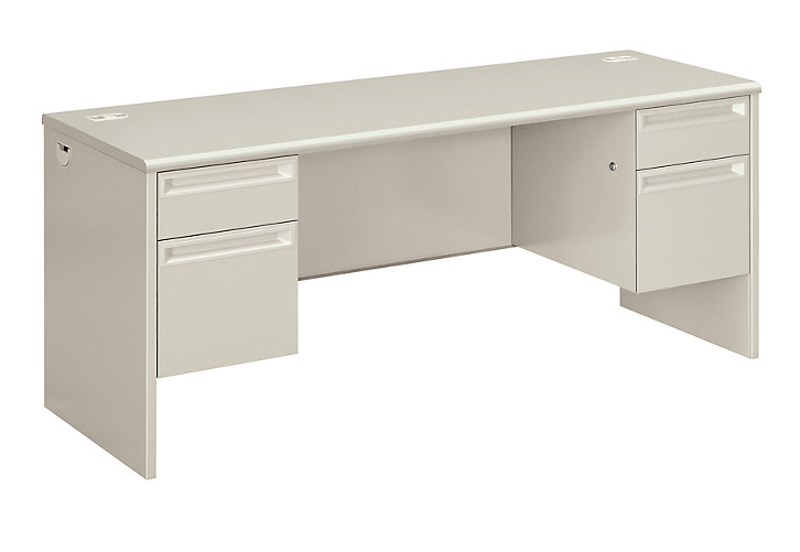 HON 38000Series Double Credenza Light Gray Front Side View H38854.Q.Q
