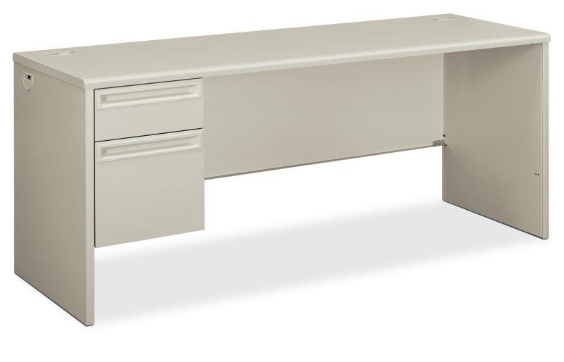 HON 38000Series Left Pedestal Credenza Light Gray Front Side View H38855L.Q.Q