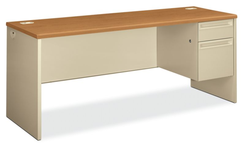 HON 38000Series Right Pedestal Credenza Mahogany Top Putty Front Side View H38856R.C.L