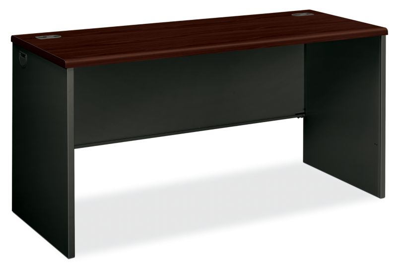 HON 38000Series Desk Shell Charcoal Mahogany Top Front Side View H38922.N.S