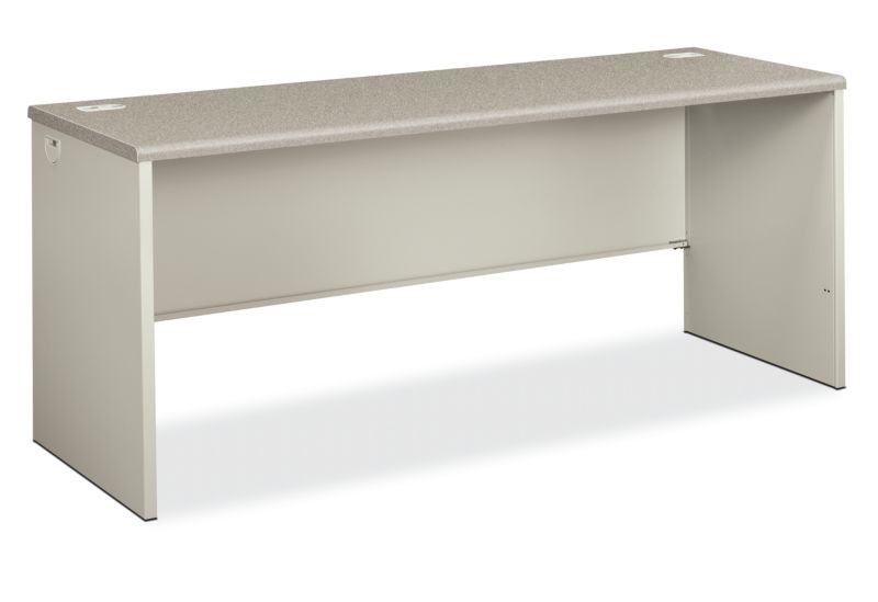 HON 38000 Series Desk Shell White Gray Top Front Side View H38925.G2.Q
