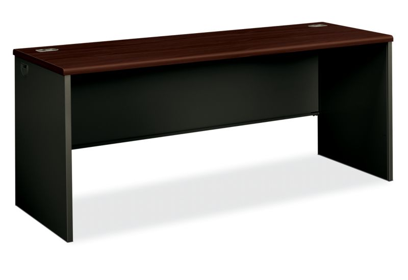 HON 38000 Series Desk Shell Black Brown Top Front Side View H38925.N.S