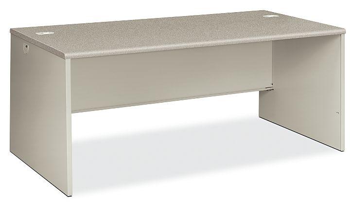 HON 38000 Series Desk Shell Light Gray Front Side View H38934.G2.Q