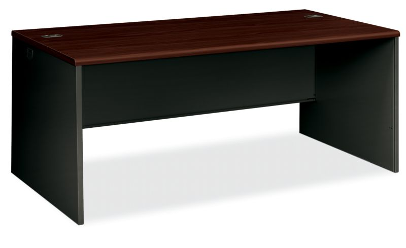 HON 38000 Series Desk Shell Mahogany Charcoal Front Side View H38934.N.S