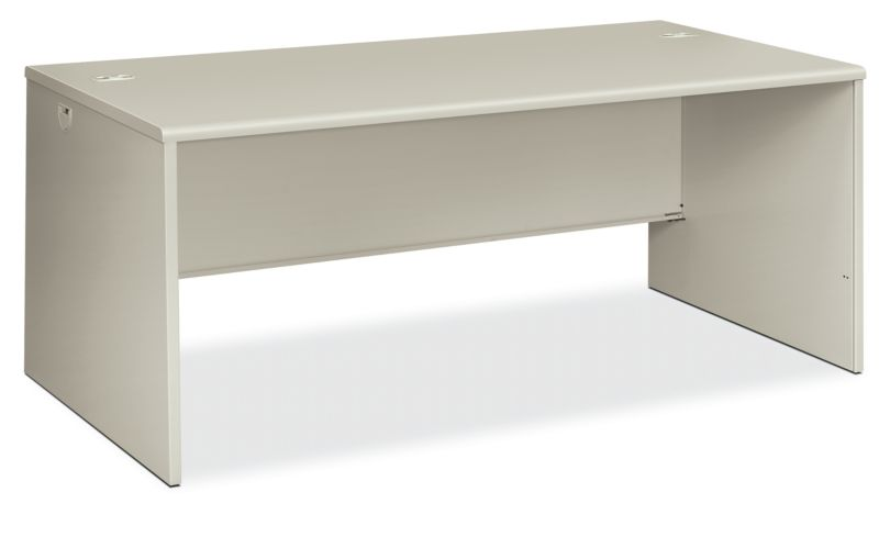 HON 38000 Series Desk Shell Light Gray Front Side View H38934.Q.Q