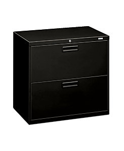 HON 500 Series 2-Drawer Lateral File Black Front Side View H572.L.P