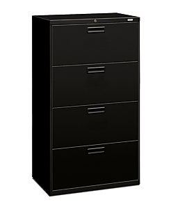 HON 500Series 4-Drawer Lateral File Black Front Side View H574.L.P
