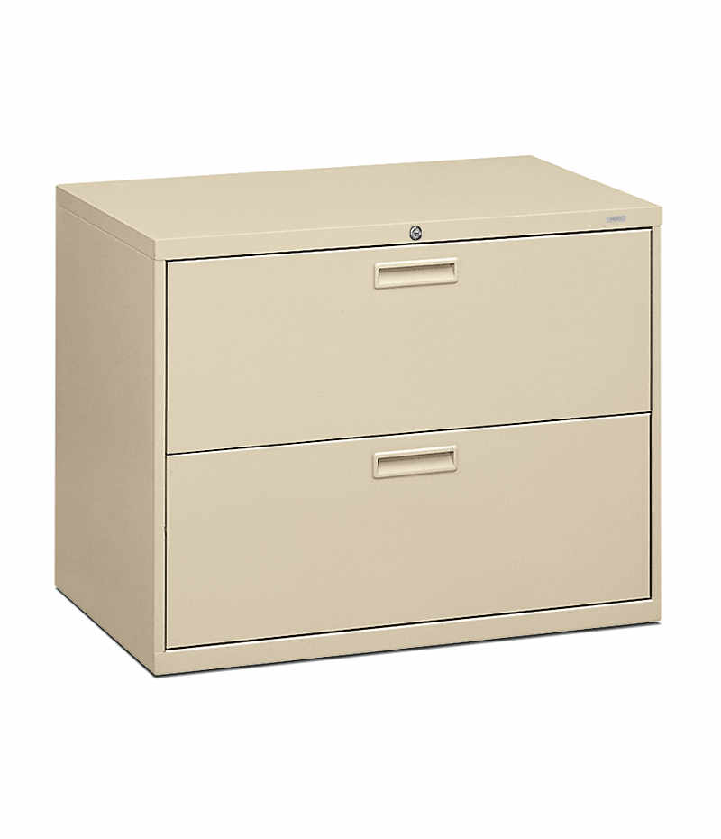 HON 500 Series 2-Drawer Lateral File Light Brown Front Side View H582.L.L