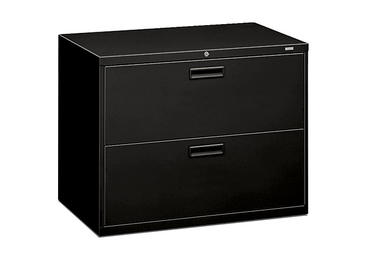HON 500 Series 2-Drawer Lateral File Black Front Side View H582.L.P