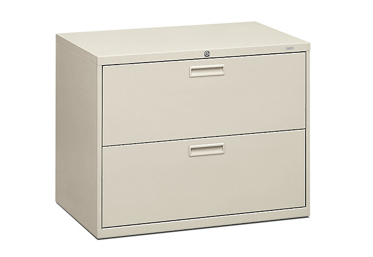 HON 500 Series 2-Drawer Lateral File White Front Side View H582.L.Q