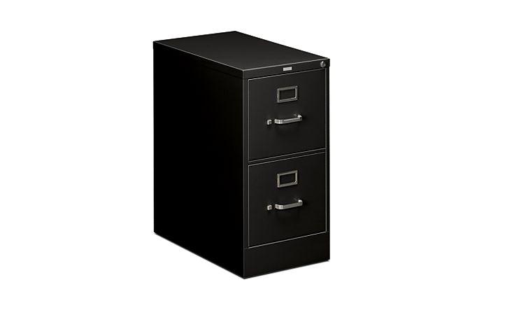 HON 510Series 2 Drawer Vertical File Black Lock Front Side View H512.P.P