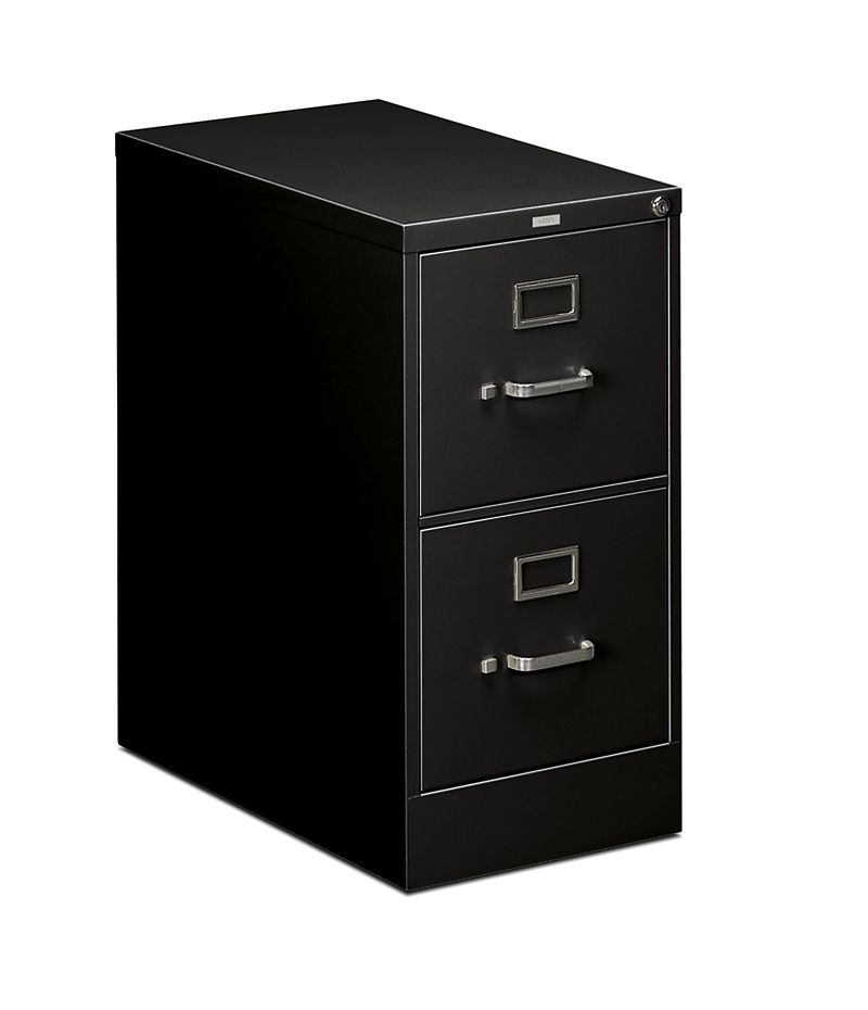HON 510Series 2 Drawer Vertical File Black Lock Front Side View H512.P.P