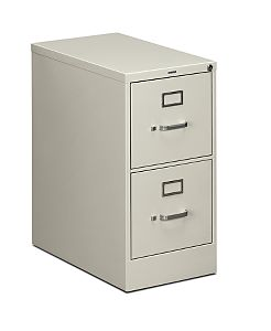 HON 510Series 2 Drawer Vertical File Light Gray Lock Front Side View H512.P.Q