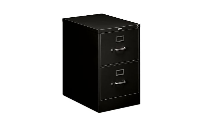 HON 510Series 2 Drawer Vertical File Black Front Side View H512C.P.P