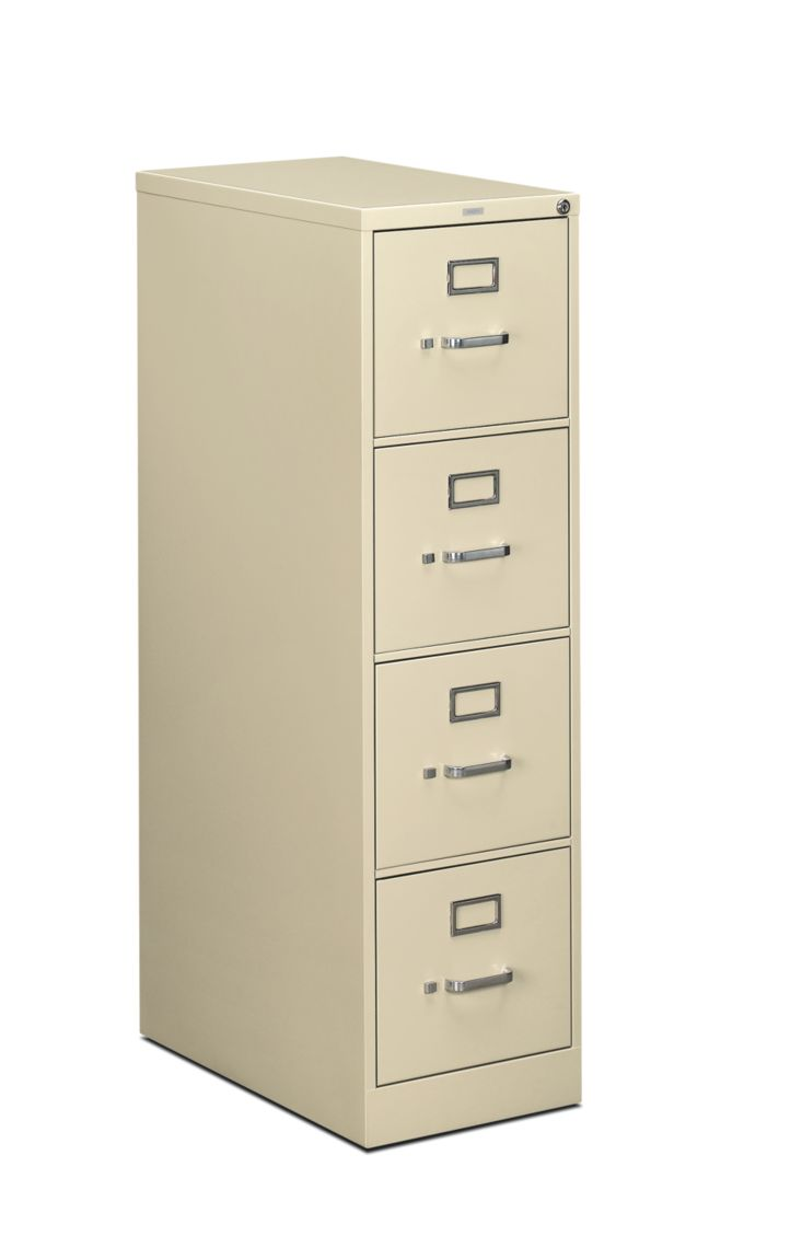 HON 510Series 4 Drawer Vertical File Putty Lock Front Side View H514.P.L