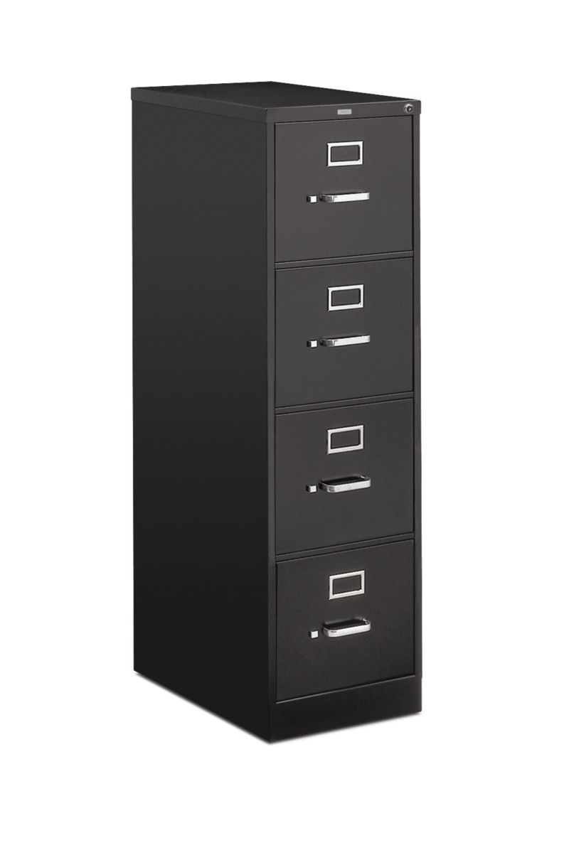 HON 510Series 4 Drawer Vertical File Black Lock Front Side View H514.P.P