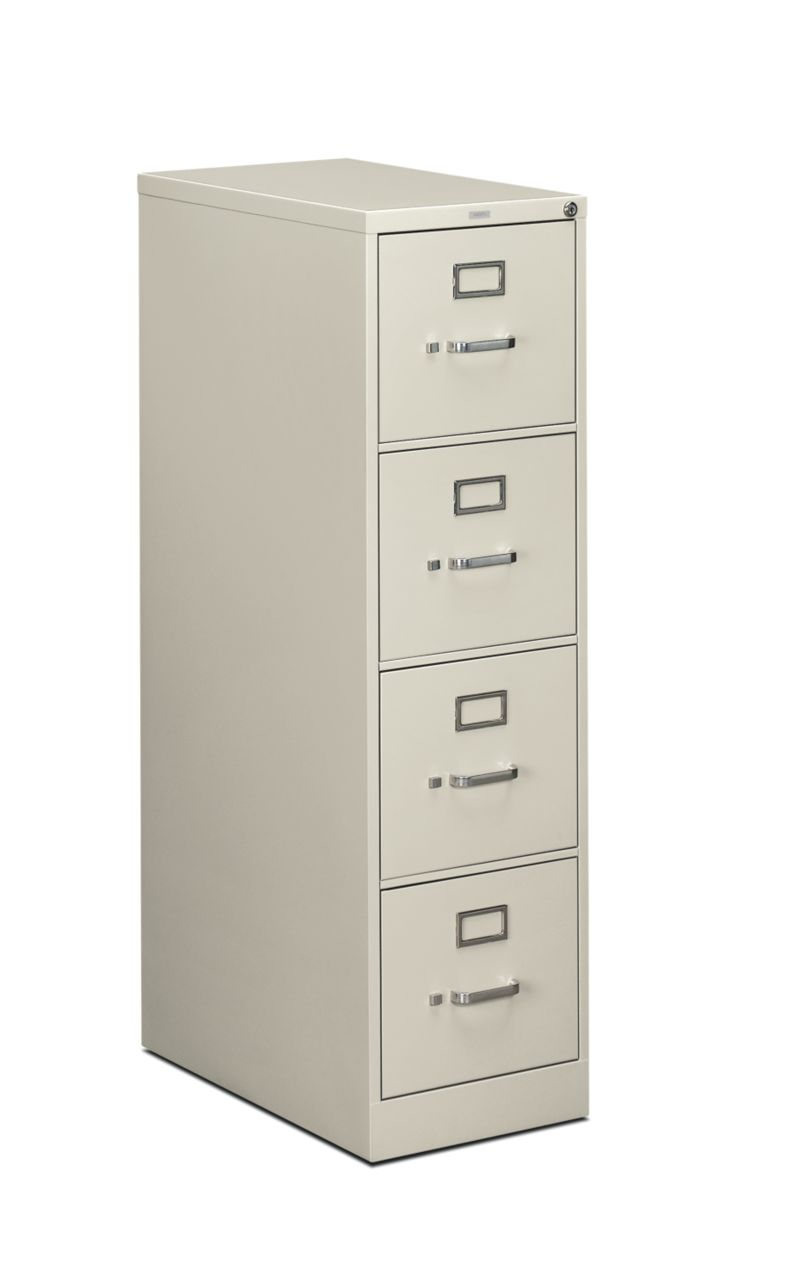 HON 510Series 4 Drawer Vertical File Light Gray Lock Front Side View H514.P.Q