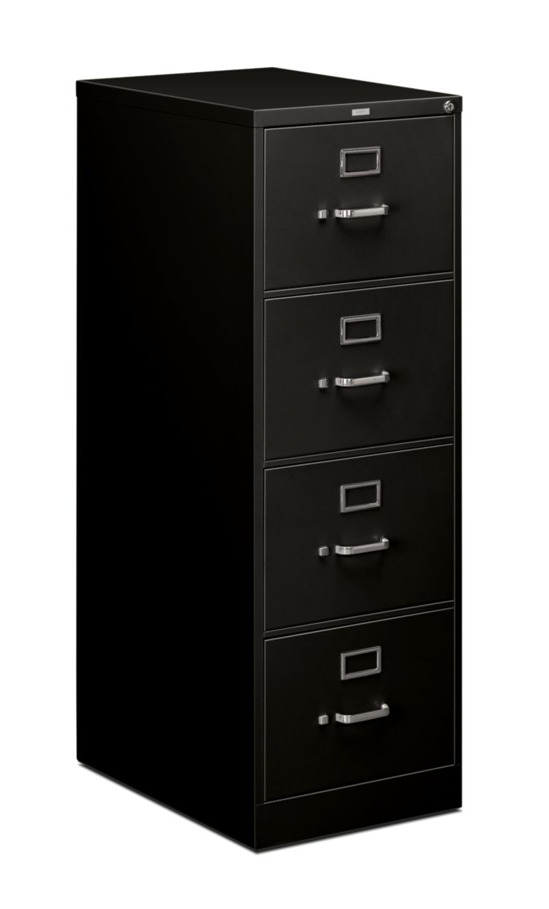 HON 510Series 4 Drawer Vertical File Black Front Side View H514C.P.P
