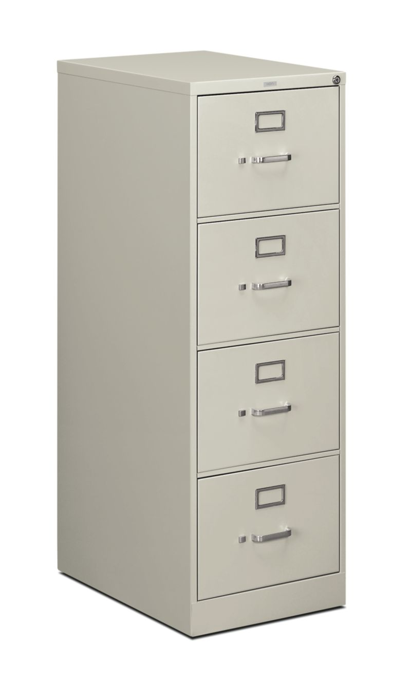 HON 510Series 4 Drawer Vertical File Light Gray Front Side View H514C.P.Q