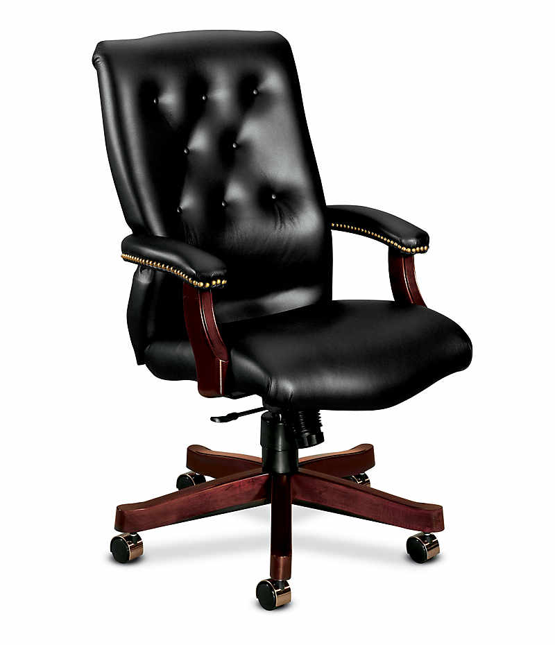 HON 6540 Series Executive High-Back Chair Black Front Side View H6541.N.EJ10