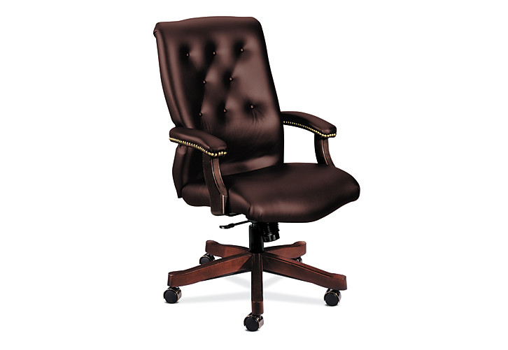 HON 6540 Series Executive High-Back Chair Brown Front Side View H6541.N.EJ65