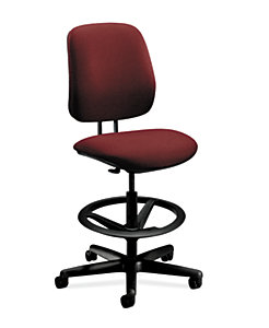 HON 7700Series Low-Back Task Stool Confetti Burgundy Armless Front Side View H7705.H.AB62.T