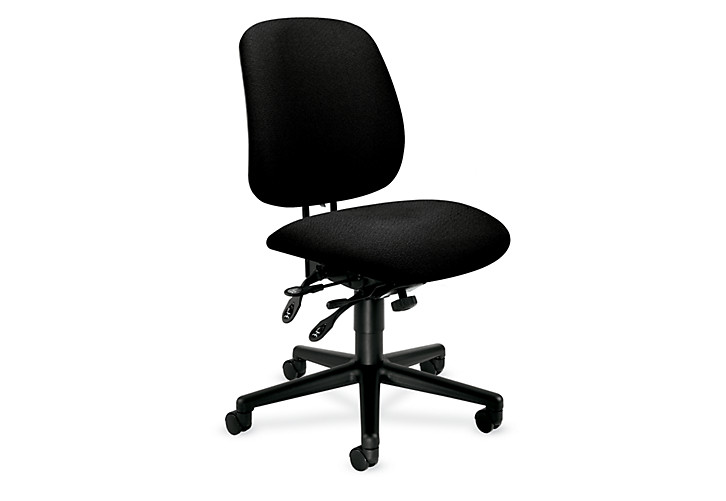 HON 7700Series Task Chair Confetti Black Armless Front Side View H7708.H.AB10.T