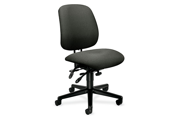 HON 7700Series Task Chair Confetti Gray Armless Front Side View H7708.H.AB12.T