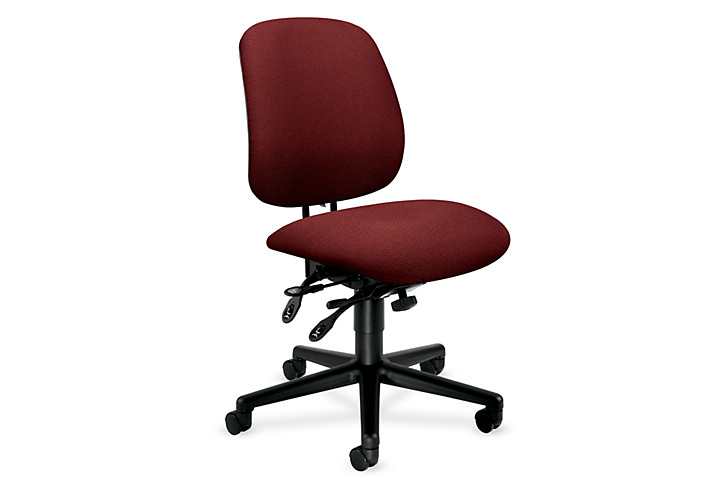 HON 7700Series Task Chair Confetti Burgundy Armless Front Side View H7708.H.AB62.T