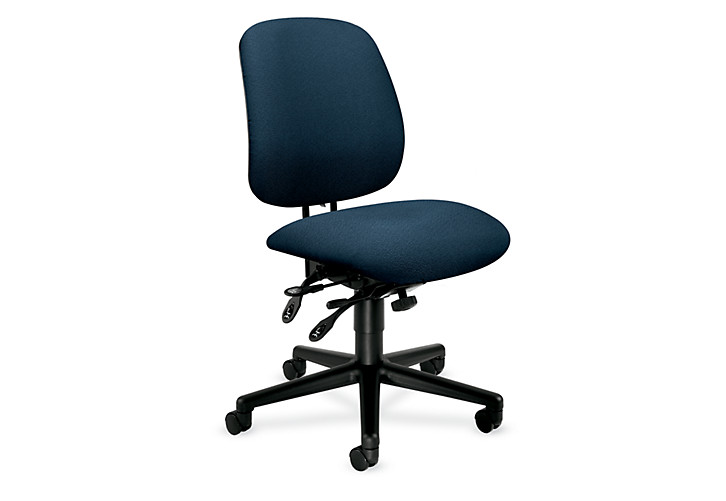 HON 7700Series Task Chair Confetti Blue Armless Front Side View H7708.H.AB90.T