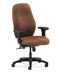 HON 7800 Series High-Back Task Chair Esplanade Espresso Adjustable Arms Front Side View H7803.H.PE49.T