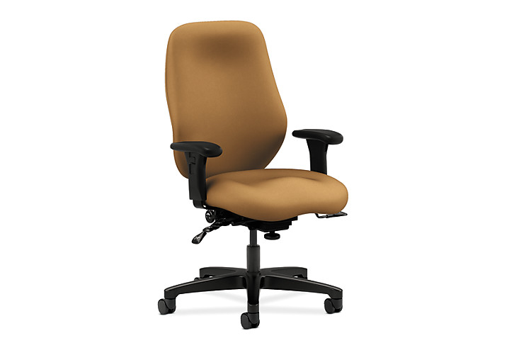 HON 7800 Series High-Back Task Chair Centurion Caramel Adjustable Arms Seat Slide Front Side View H7808.H.CU26.T