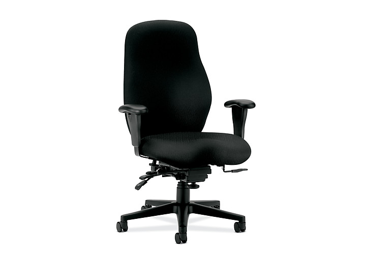 HON 7800 Series High-Back Task Chair Tectonic Black Adjustable Arms Seat Slide Front Side View H7808.H.NT10.T