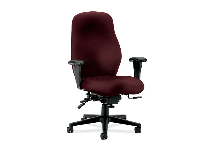 HON 7800 Series High-Back Task Chair Tectonic Wine Adjustable Arms Seat Slide Front Side View H7808.H.NT69.T