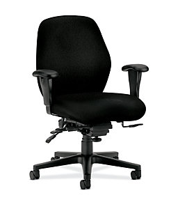 HON 7800 Series Mid-Back Task Chair Tectonic Black Front Side View H7828.H.NT10.T