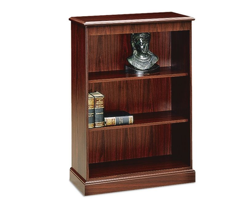 HON 94000 Series 3-Shelf Bookcase Mahogany Color Front Side View H94222.NN