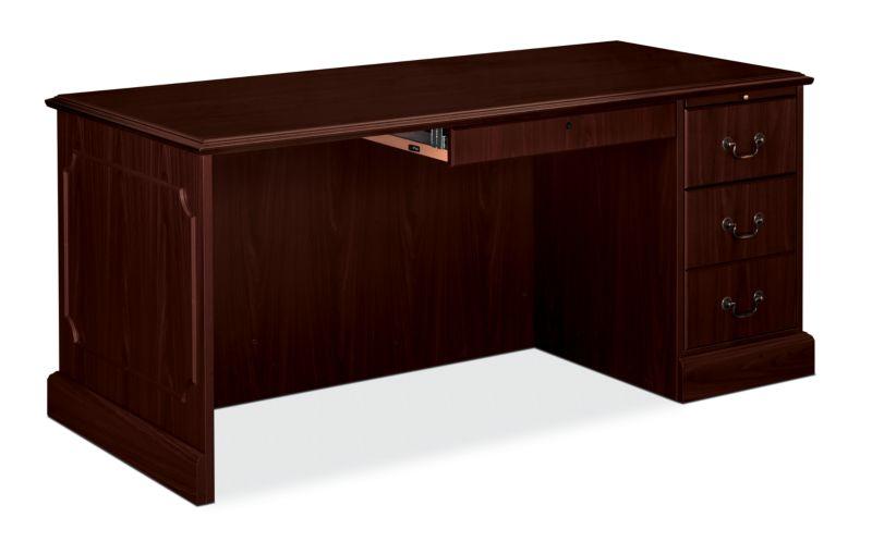 HON 94000 Series Right Pedestal Desk Brown Front Side View H94283R.NN