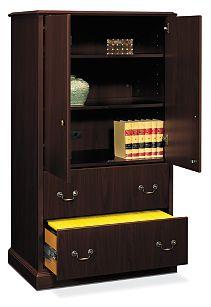 HON Series Storage Cabinet Dark Brown Front Side View H94434.NN