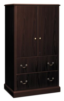 HON Series Storage Cabinet Dark Brown Front Side View H94435.NN