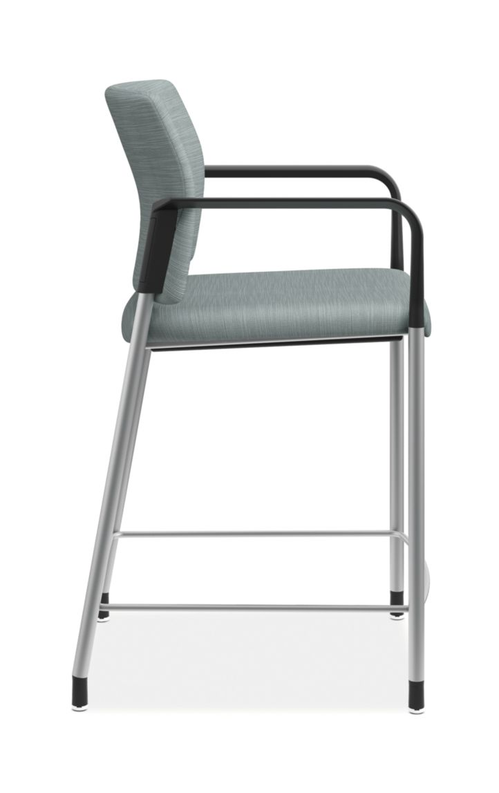 HON Accomodate Counter Height Stool Compass Tide Fixed Arms Side View HSCS1.F.E.COMP96.P6N