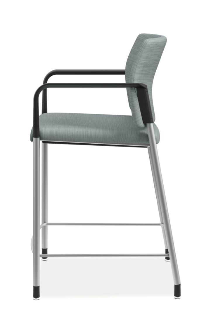 HON Accomodate Counter Height Stool Compass Tide Fixed Arms Side View HSCS1.N.E.COMP96.P6N