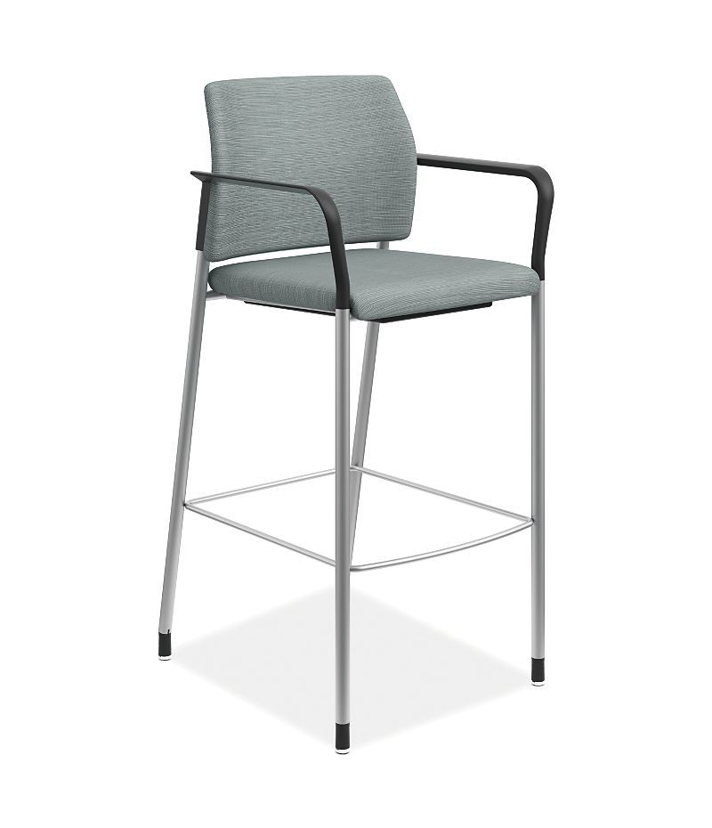 HON Accommodate Cafe Stool Compass Tide Fixed Arms Front Side View HSCS2.F.E.COMP96.P6N