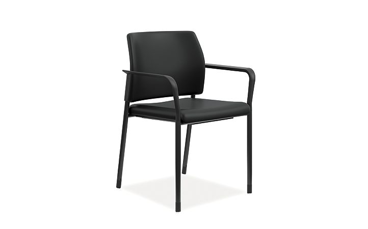 HON Accomodate Guest Chair Polyurethane Black Fixed Arms Front Side View HSGS6.F.E.UR10.BLCK