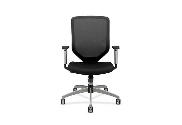 HON Boda Mesh Back Task Chair Black Sandwich Mesh Adjustable Arms Front View HMH01.MM10.C