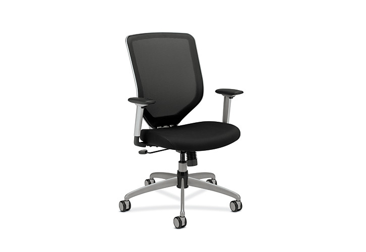 HON Boda Mesh Back Task Chair Black Sandwich Mesh Adjustable Arms Front Side View HMH01.MM10.C
