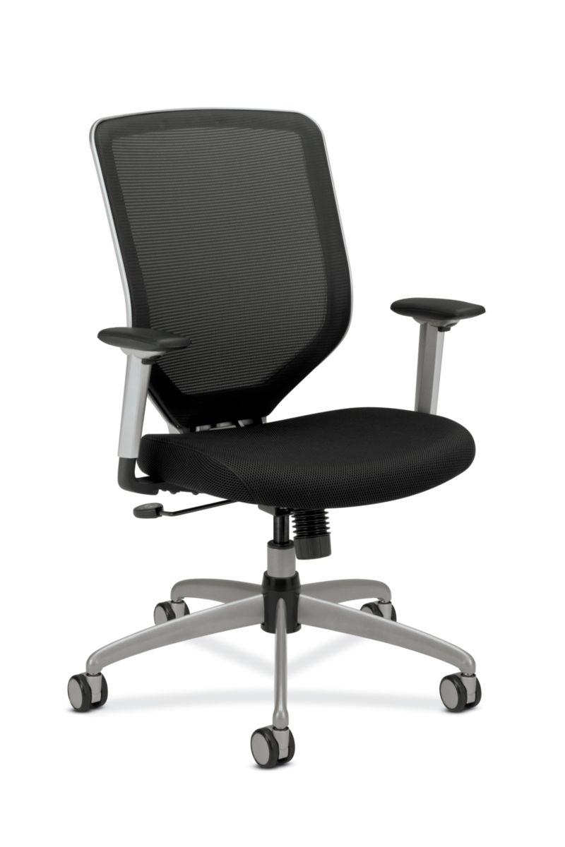 HON Boda Mesh Back Task Chair Black Sandwich Mesh Adjustable Arms Front Side View HMH01.MM10.C